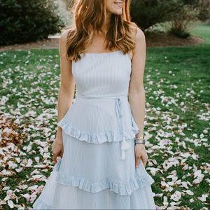 Blue and white ruffle maxi dress